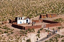 View Of The Small Church In The Village Of Machuca, A Typical Village Of The Atacama Desert Along The Road To El Tatio Geysers, Chile