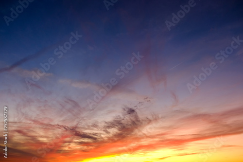 Foto  Dramatic sunset sky with stormy clouds nature background