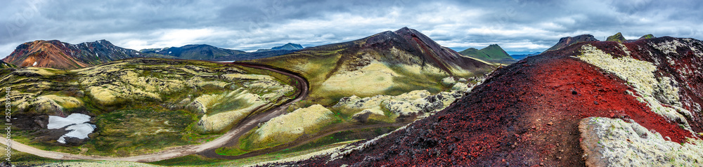 Fototapety, obrazy: Beautiful colorful volcanic mountains Landmannalaugar as pure wilderness in Iceland, summer time, blue sky