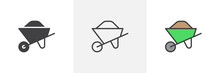 Sand Wheelbarrow Icon. Line, G...