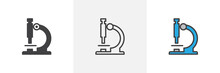 Lab Microscope Icon. Line, Glyph And Filled Outline Colorful Version, Microscope Outline And Filled Vector Sign. Symbol, Logo Illustration. Different Style Icons Set. Pixel Perfect Vector Graphics