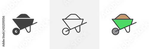 Fotografia Sand wheelbarrow icon