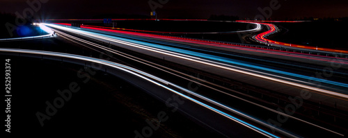 Photo sur Toile Autoroute nuit Lichtzieher Autobahnkreuz in Deutschland