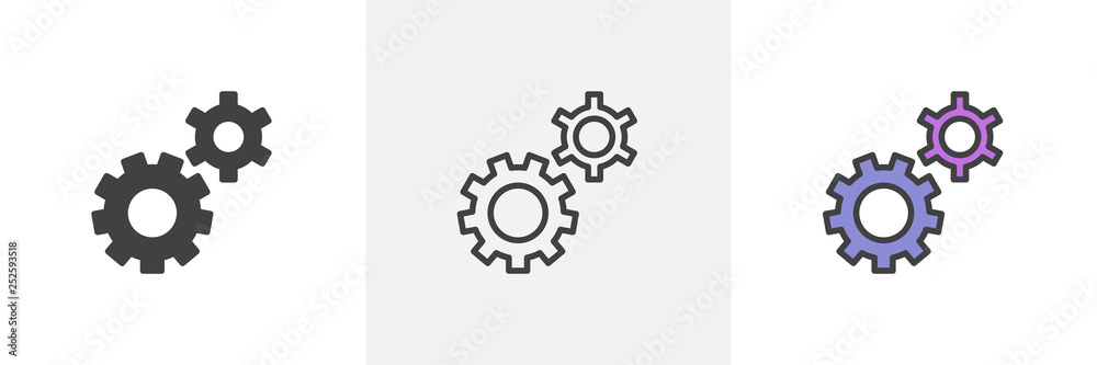 Fototapeta Setting gears icon. Line, glyph and filled outline colorful version, clock gear outline and filled vector sign. Symbol, logo illustration. Different style icons set. Pixel perfect vector graphics