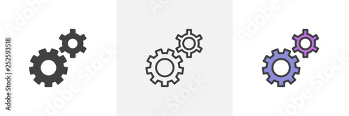 Fototapeta Setting gears icon. Line, glyph and filled outline colorful version, clock gear outline and filled vector sign. Symbol, logo illustration. Different style icons set. Pixel perfect vector graphics obraz