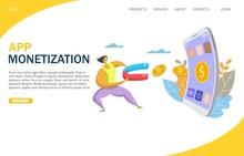 App Monetization Vector Website Landing Page Design Template