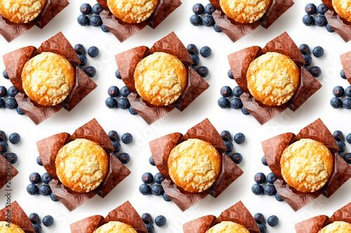 Carta da parati Blueberry muffin pattern on white background, top view