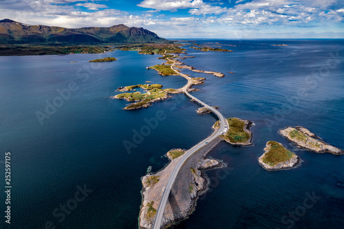 Atlantic Ocean Road aerial photography. Fotobehang