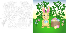 Vector Coloring Page Easter Bu...
