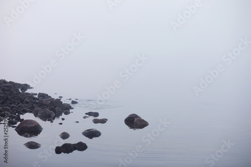 Photo sur Plexiglas Zen pierres a sable Fog in the lake. Morning nature water white fog.