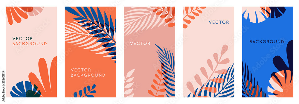 Fototapety, obrazy: Vector set of abstract backgrounds with copy space for text, leaves and plants - bright vibrant banners in red and blue colors, posters, packaging cover design templates, social media stories wallpape