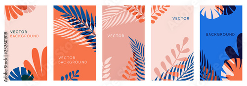 Foto op Plexiglas Zalm Vector set of abstract backgrounds with copy space for text, leaves and plants - bright vibrant banners in red and blue colors, posters, packaging cover design templates, social media stories wallpape