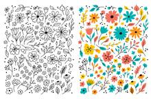 Doodle Flowers Hand Drawn Floral Set. Children Cartoon Drawing. Vector Symbols