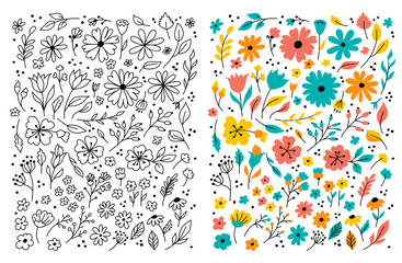 Doodle flowers Hand drawn floral set. Children cartoon drawing. Vector symbols