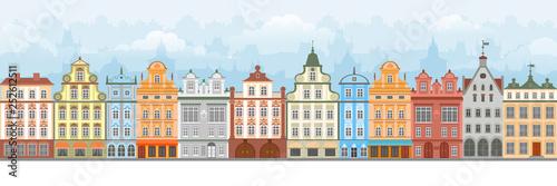 European Cityscape Seamless Canvas Print