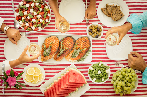 Fotografie, Obraz  Mediterranean diet. Healthy eating concept. Top view