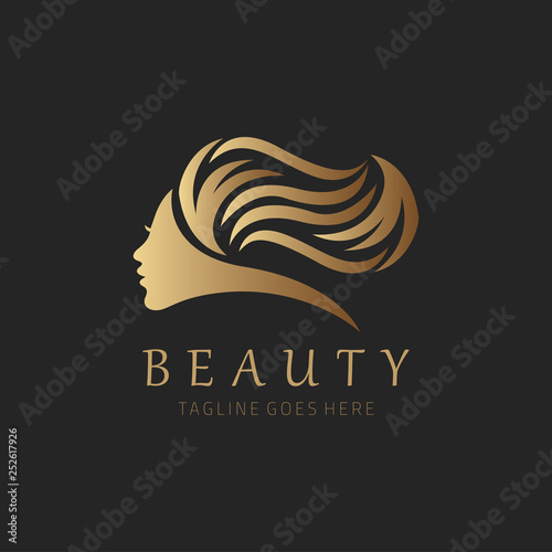Beauty salon logo design template. Vector illustration Wall mural