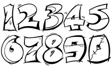 Numeric From 0-9 In Graffiti Bold Stroke Vector Outline In Black And White.