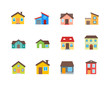 House vector flat illustration / Home flat icon set.