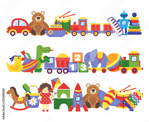 Obraz Toys pile. Groups of children plastic game kids toys elephant teddy bear train rocket ship doll dino vector set - fototapety do salonu