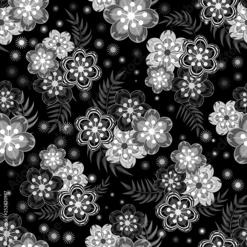 Vector Floral Ethnic Seamless Pattern In Doodle Style With Flowers