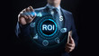 ROI Return on investment financial growth concept with graph, chart and icons.