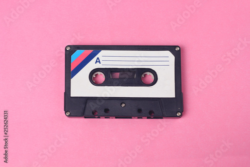 Photographie Audio retro vintage cassette tape 80s style on pink background