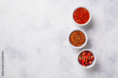 Chili sauce with dried peppers Canvas Print