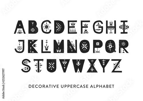 Fotografija  Vector display uppercase alphabet decorated with geometric folk patterns