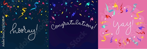 Obraz Set of banners in flat style with confetti and lettering. Congratulations design template with ribbons in flat style. Hooray lettering with decorative elements. Vector greeting banners set. - fototapety do salonu