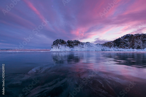 Winter sunset on Lake Baikal Canvas Print