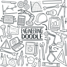 Engineering Traditional Doodle Icons Sketch Hand Made Design Vector