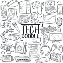 Tech Traditional Doodle Icons Sketch Hand Made Design Vector