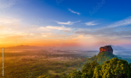 Poster de jardin Morning Glory Sunrise view to Sigiriya rock - Lion Rock - from Pidurangala Rock in Sri Lanka