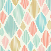 Seamless Vector Geometric Diamond Repeat Pattern Vector Background. Ideal For Young Children And Babies.