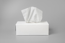Opened Tissue Box On Grey Background For Print Design And Mock Up