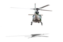 A White Helicopter Hopping In Position On White Background Back View Isolated.