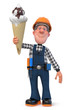 3d illustration Builder worker with ice cream/3D illustration of funny working character having lunch