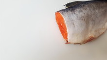 Red Sockeye Salmon. A Piece Of Cut Red Fish. Sockeye Salmon In The Section. Seafood.