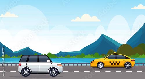 cars driving asphalt highway road near river mountains natural landscape background horizontal banner flat