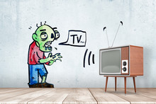 3d Rendering Of Room With Retro TV Set And Drawing Of Green Zombie On Wall Uttering Word 'TV' In Speech Bubble.