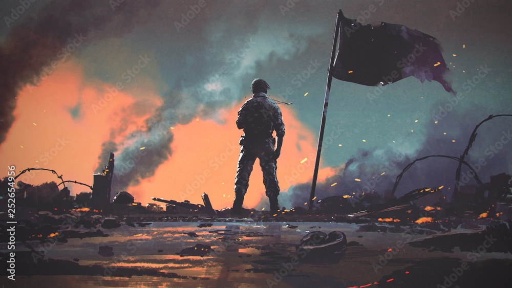 Fototapeta soldier standing alone after the war in battlefield, digital art style, illustration painting
