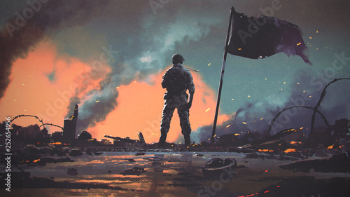 Spoed Foto op Canvas Grandfailure soldier standing alone after the war in battlefield, digital art style, illustration painting