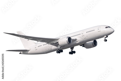 Montage in der Fensternische Flugzeug A pure with Boeing 787 no logo take-off isolated side view