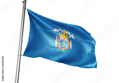 Melilla of Spain flag waving isolated 3D illustration