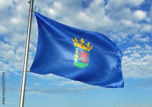 Badajoz province of Spain flag waving sky background 3D illustration