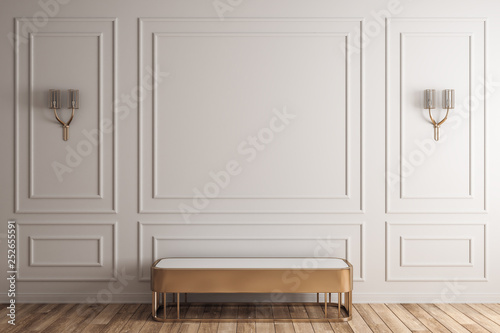 White interior with bench Canvas Print