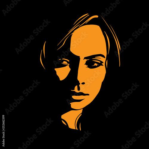 Fotografie, Obraz  Woman face in contrast light. Vector. Illustration.