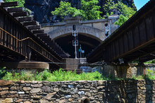 B&O Railroad Bridge In Harpers Ferry West Virginia Allows Both Passenger And Train Traffic