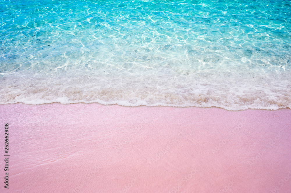 Fototapety, obrazy: Soft blue ocean wave on pink sandy beach summer concept